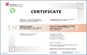 JANUARY 2018: SANHUA AWECO TYCHY - IATF and ISO CERTIFICATION